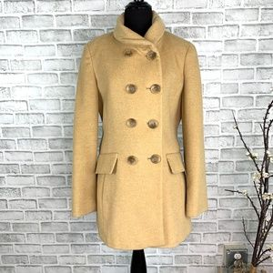 Calvin Klein Camel Wool Double Breasted Pea Coat